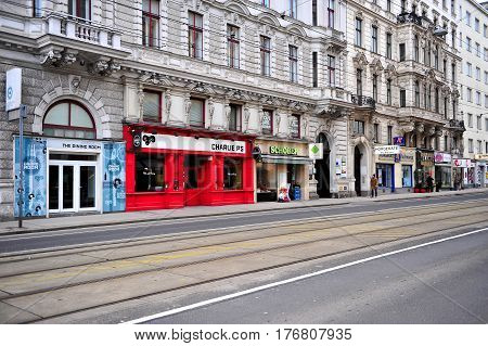 VIENNA AUSTRIA - FEBRUARY 11: View of colorful facades in the street of Vienna on February 11 2017. Vienna is a capital and largest city of Austria.