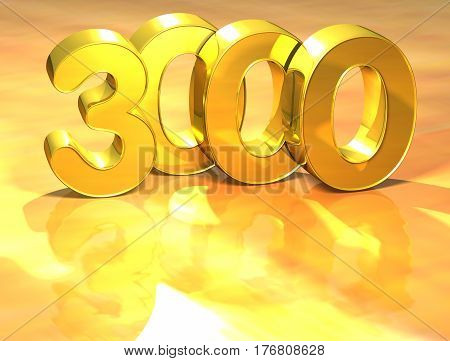 3D Gold Ranking Number 3000 On White Background.