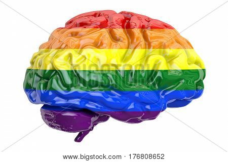 brain with rainbow gay flag 3D rendering