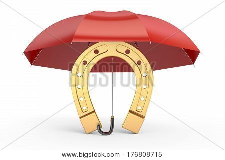 horseshoe with umbrella protect your luck. 3D rendering isolated on white background