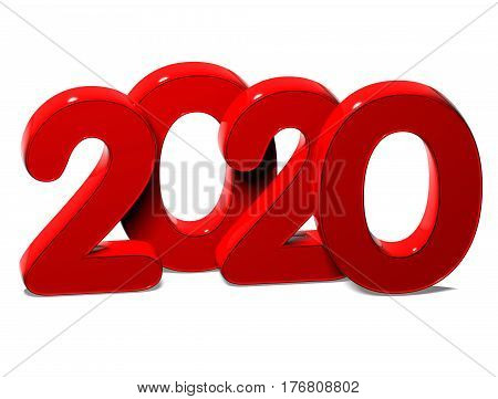 3D Red New Year 2020 On White Background