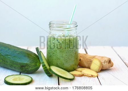 Healthy Fresh Smoothie Drink From Gree Cucumber And Ginger