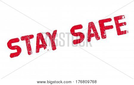 Stay Safe rubber stamp. Grunge design with dust scratches. Effects can be easily removed for a clean, crisp look. Color is easily changed.