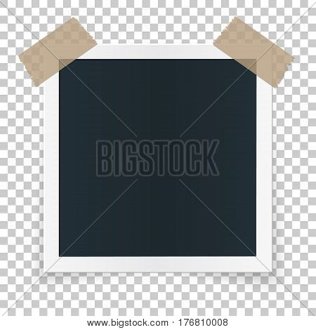 Square photo place concept, single isolated object sticked with beige tape pieces on transparent background. Vector detailed illustration edge for photos aqnd pictures.