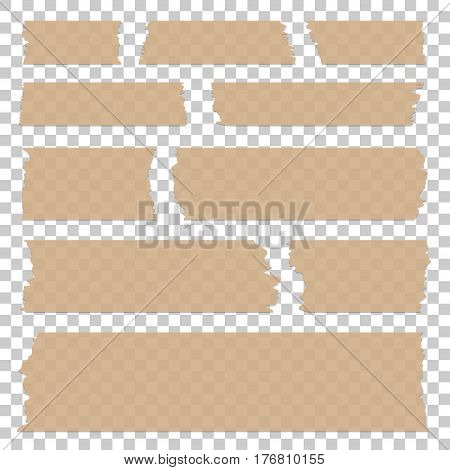 Set of transparent tape pieces isolated, Beige realistic single objects. Vector adhesive tape illustration.