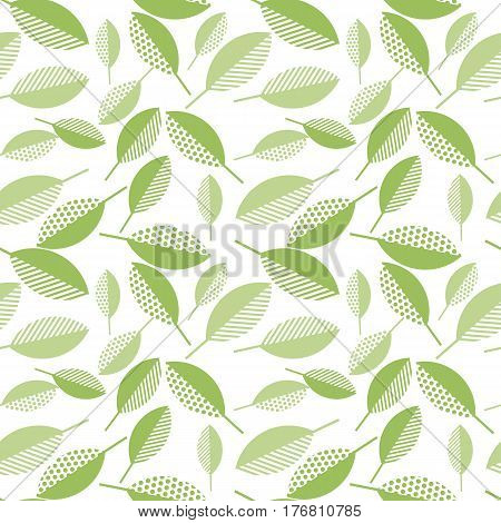 spring green leaves abstract vector illustration on wight background. seamless pattern with modern geometry pattern leaf. surface design for wrapping paper, fabric, box, cloth, backdrop