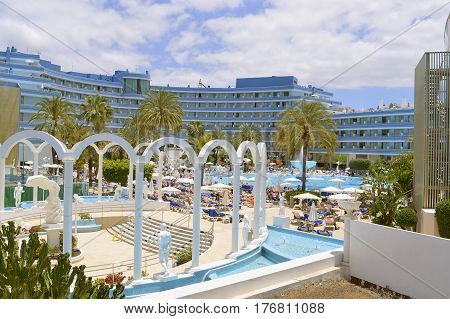 Playa De Las Americas Tenerife Canary Islands Spain Europe - June 18 2016: Cleopatra Palace Hotel part of the Mare Nostrum resort