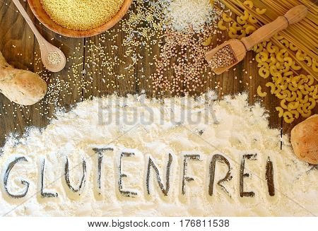 Gluten Free Cereals Corn, Rice, Buckwheat, Quinoa, Millet, Pasta And Flour With Text Gluten Free In