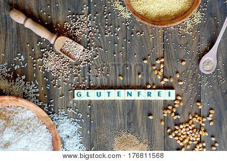 Gluten Free Cereals Corn, Rice, Buckwheat, Quinoa, Millet And Amaranth With Text Gluten Free In Germ