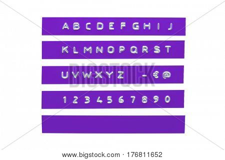 embossed alphabet on violet plastic tape, isolated on white