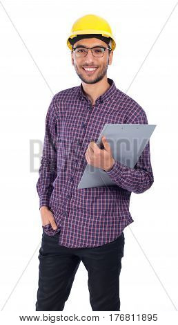 Young engineer smiling isolted on white background