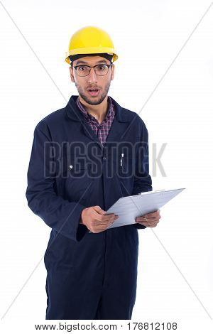 Young worker surprised isolated on white background