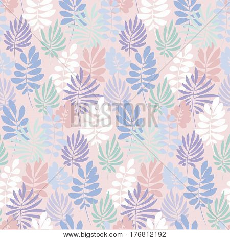 Tender violet and rosy color tropical leaves seamless pattern. Decorative summer nature surface design. floral vector illustration for fabric, print, wrapping paper,