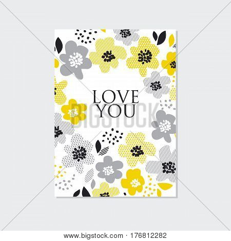 contemporary spring floral design  with yellow abstract flowers. modern geometry vector illustration. stylish surface design for cards, poster, web banners, header and book cover