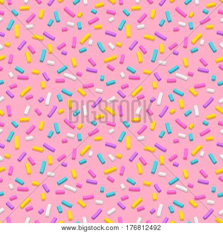 Seamless pattern of pink donut glaze with many decorative sprinkles. Vector illustration Eps 10