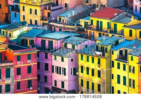 Vernazza village buildings aerial view. Seascape in Five lands Cinque Terre National Park Liguria Italy Europe.
