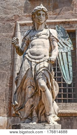 Rome, Italy - July 12, 2013. Visiting San Angelo Statue From The Castel San Angelo