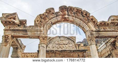 Ephesus, Turkey - September 13, 2009. Visiting Temple Of Hadrian In The Ancient Greek City Of Ephesu