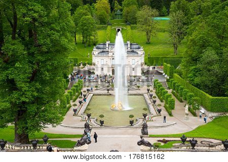 Linderhof Palace Is A Schloss In Southwest Bavaria, Germany.
