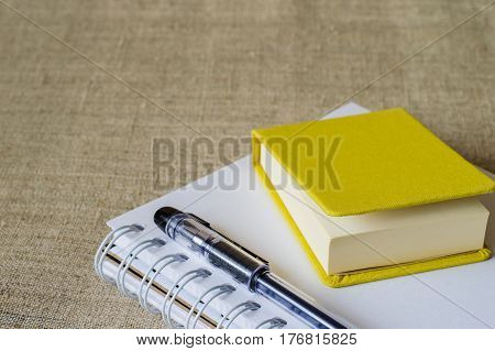 Yellow Mini-notepad, Notepad For Sketches And Black Pen.