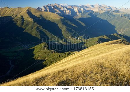 Rocky buttresses in Ordesa National Park, Pyrenees, Huesca, Aragon, Spain