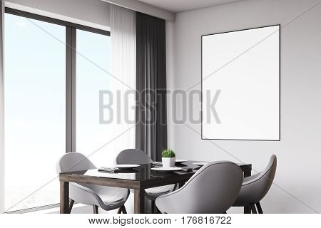 Dark Wood Kitchen With Table And Poster, Closeup