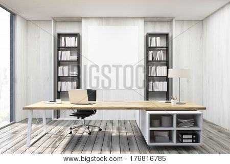 Ceo Office With Gray Walls