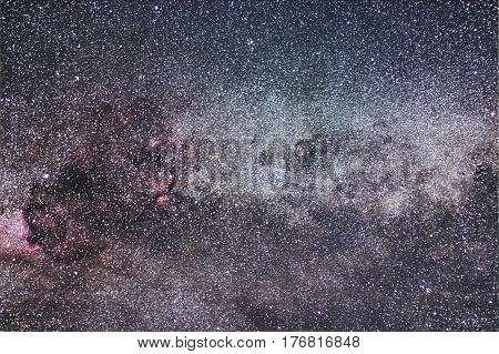 Milky Way And Cygnus Constellation. Northern Cross.