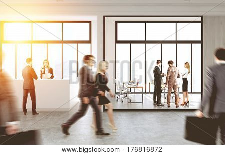 People are walking in an office with a reception counter and glass walls. 3d rendering toned image.