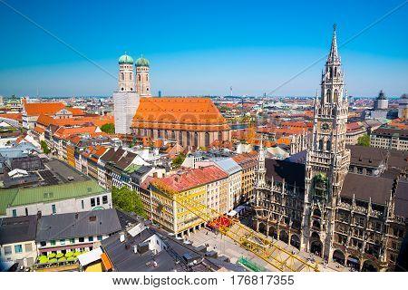 Panorama View Of Munich City Center, Bavaria, Germany