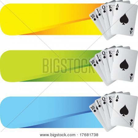 royal flush playing cards on colored tabs
