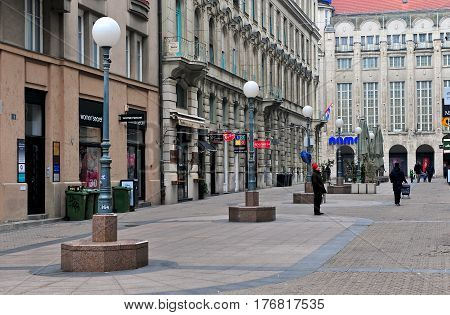 ZAGREB CROATIA - FEBRUARY 12: View of pedestrian street in city centre of Zagreb on February 12 2017. Zagreb is a capital and largest city of Croatia.