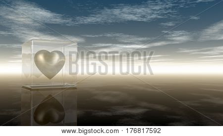 heart symbol in glass cube under cloudy sky - 3d rendering