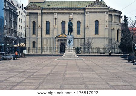 ZAGREB CROATIA - FEBRUARY 12: Monument of Petar Preradovic in city centre of Zagreb on February 12 2017. Zagreb is a capital and largest city of Croatia.