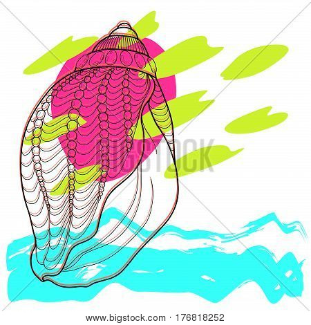 Stylized sea Seashell abstract modern art. Hand Drawn aquatic doodle vector illustration.