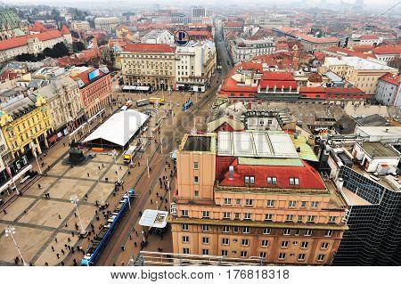 ZAGREB CROATIA - FEBRUARY 12: Top view of Zagreb downtown Croatia on February 12 2017. Zagreb is a capital and largest city of Croatia.