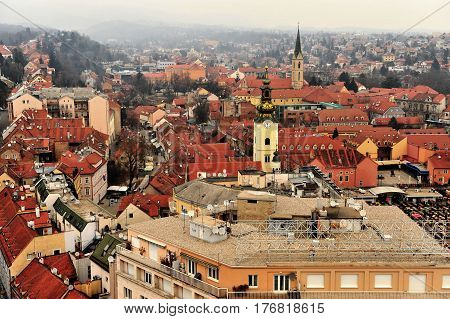 ZAGREB CROATIA - FEBRUARY 12: Top view of the city centre of Zagreb on February 12 2017. Zagreb is a capital and largest city of Croatia.