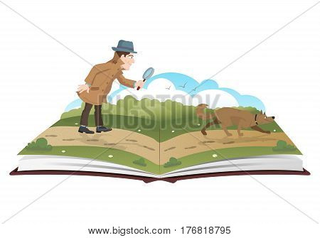 Open book about detective with magnifying glass and tracker dog