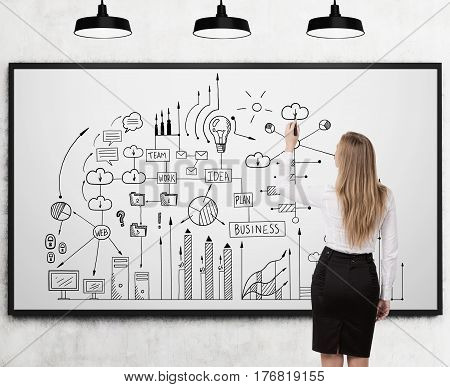 Woman Drawing A Business Scheme On Whiteboard