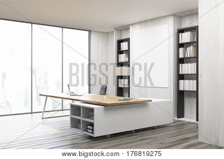 Side view of a CEO office with a large table a laptop two bookcases and a vertical poster on a gray wall. 3d rendering. Mock up.