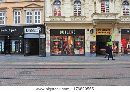 ZAGREB CROATIA - FEBRUARY 12: View of shopping street in city centre of Zagreb on February 12 2017. Zagreb is a capital and largest city of Croatia.