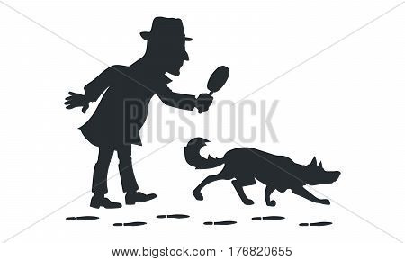 Detective with magnifying glass and tracker dog silhouette vector