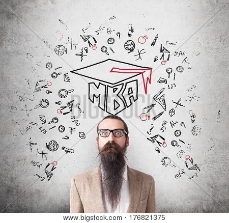 Man With Long Beard And Mba Sketch