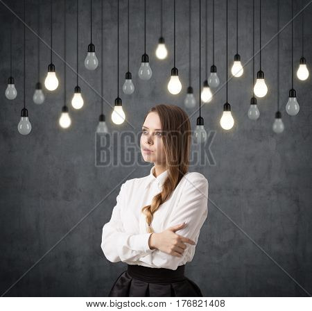 Woman With Braid And Bulbs On Wires
