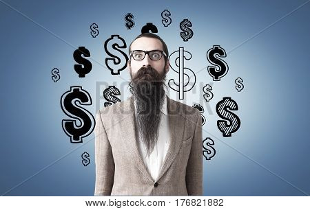 Man With Long Beard And Dolar Signs On Blue