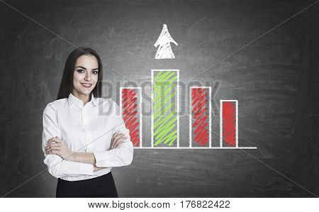 Woman With Crossed Arms And Growing Graph