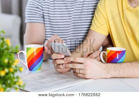 Happy gay couple drinking coffee and checking social media
