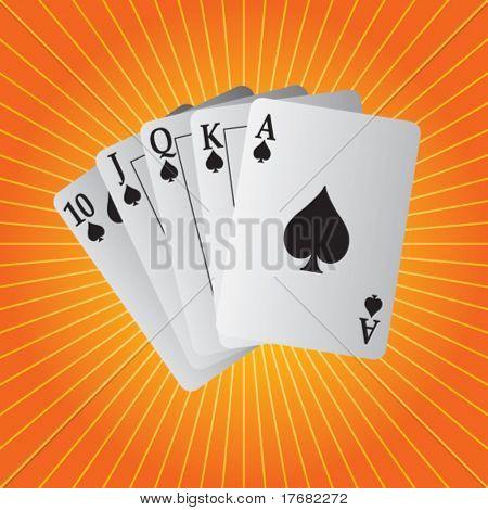 royal flush playing cards on starburst