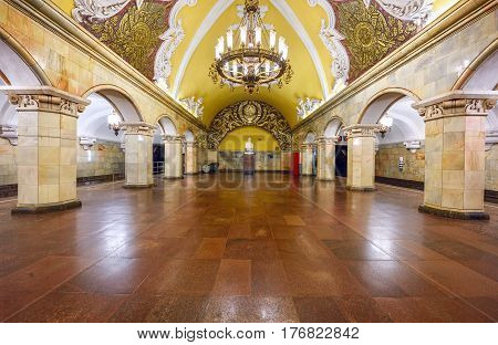 MOSCOW/ RUSSIA - MARCH 11, 2017. Metro station Komsomolskaya, opened 1952 in the center of Moscow, Russia