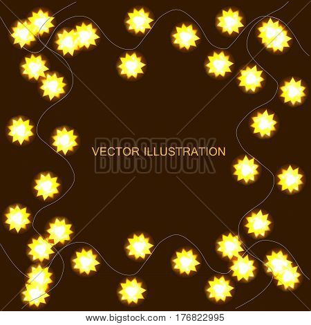 Light garlands, background with yellow glowing lights on brown background. Vector illustration with background with border.